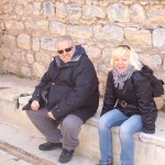 Heidi and I and the toilets as used by the Romans in Ephesus