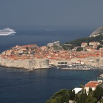 Carnival Freedom sailing into Dubrovnik (old town)