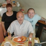 HERE IS A PHOTO OF ALAN, CHEF AND ADY, THE OWNER, AS WELL AS ALAN'S (GREEDY GIT) BREAKFAST