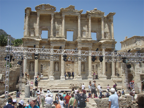 The second photo is of Ephesus again. Note the lights and rigging which were being set for a concert which is being played tonight (Friday) by a full 52 piece orchestra from Germany.