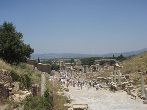 "This is a beautiful photo of the ""Walk Of Life"" at Ephesus with Hadrian's Grand Library in the back ground"