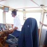 A photo on the bridge of the tender boat.