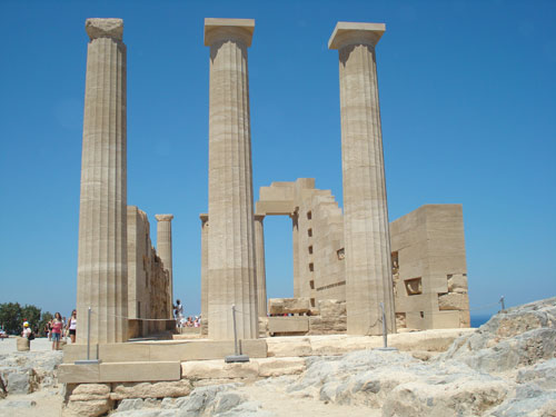 TWO PHOTOS OF THE ACROPOLIS AT LINDOS