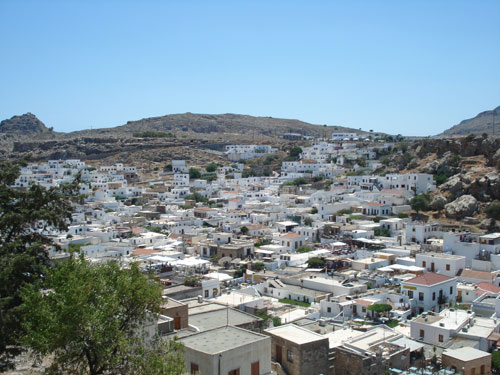 LYNDOS AND THE VIEW FROM ABOVE THE VILLAGE
