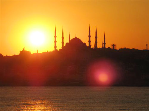 1. The Blue Mosque at sunset - The Blue Mosque is the only one in Istanbul with six minarets, all the others have four.