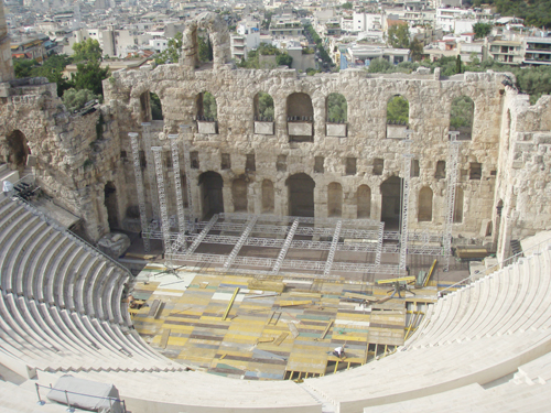 The theatre at the Acropolis in Athens which was preparing for a concert by Andrea Bocelli