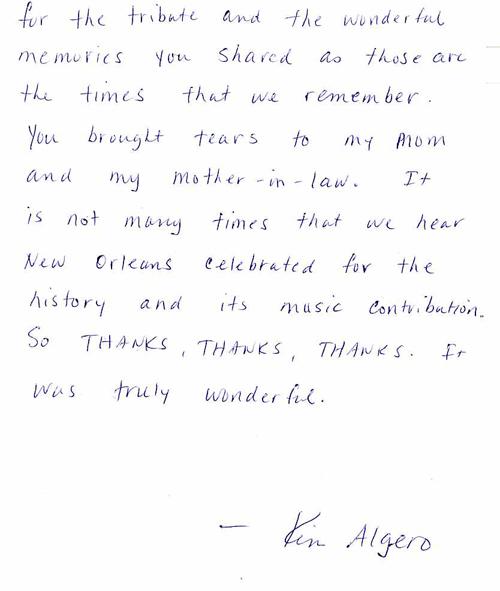 Letter from Kim Allegro