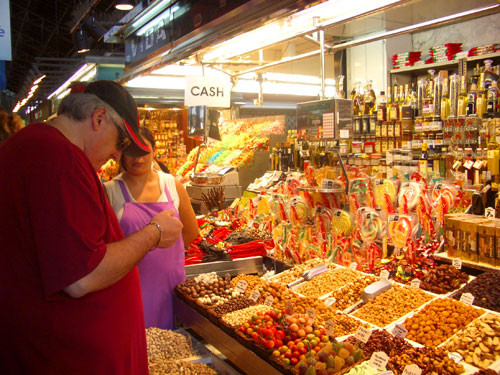 4. Me buying pistachios in the huge open air food market