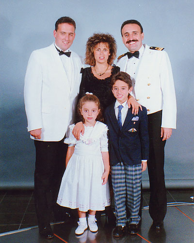 Me, Captain Catugno and his family in 1992 on the Fantasy