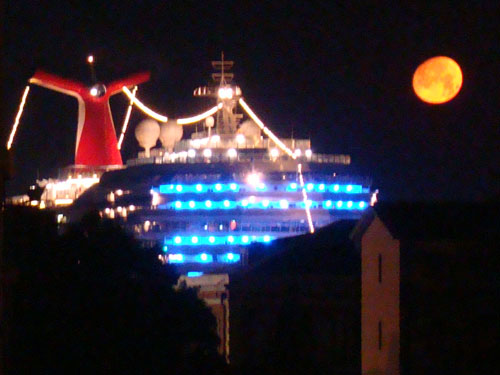 1. Here is the Carnival Freedom at night in Venice