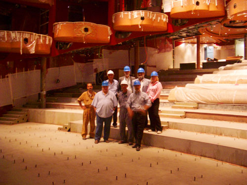1. The Royal Court Theatre and the great people of Fincantieri and Cunard who took us around (Note the boxes above)