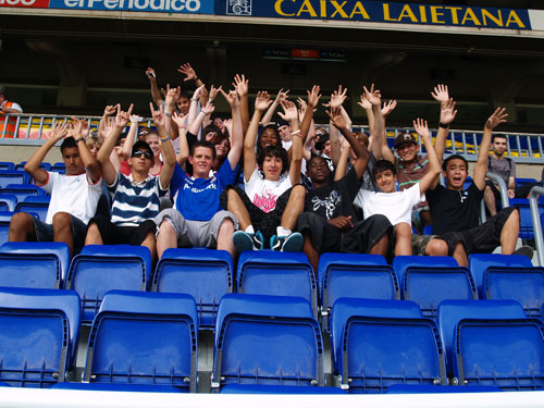"1. This is a shot of all the teens from Club O2 who we took to the famous Barcelona Soccer Stadium ""The Nou Camp """
