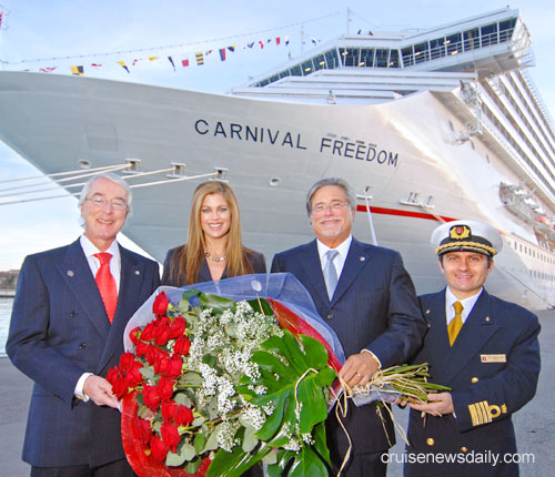 Here is Captain with (left to right) Carnival's retiring president and CEO Bob Dickinson, the ship's Godmother Kathy Ireland and Carnival Corporation Chairman Mr. Micky Arison