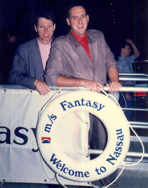 And before the Q and A section a photo of myself and Gary Hunter, my mentor and Carnival's greatest ever Cruise Director taken on the Carnival Fantasy in 1990.