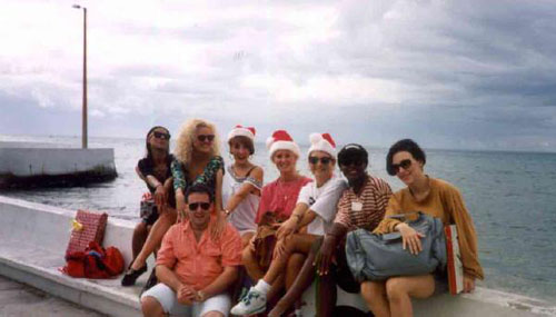 Here is a photo of me and some of the dancers from 1992, Christmas in Cozumel……………what the heck is that shirt!