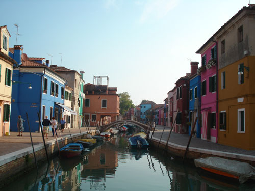 2. A typical canal side street in Burano