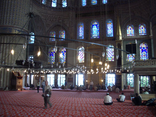 2.Inside the Blue Mosque. Notice the colour of the stained glass and tiles, this is the reason it is called The Blue Mosque