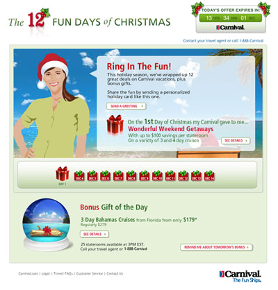 Carnival's 12 Fun Days of Christmas