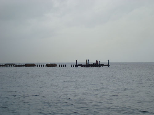 4. The pier that was destroyed by the hurricane being rebuilt.