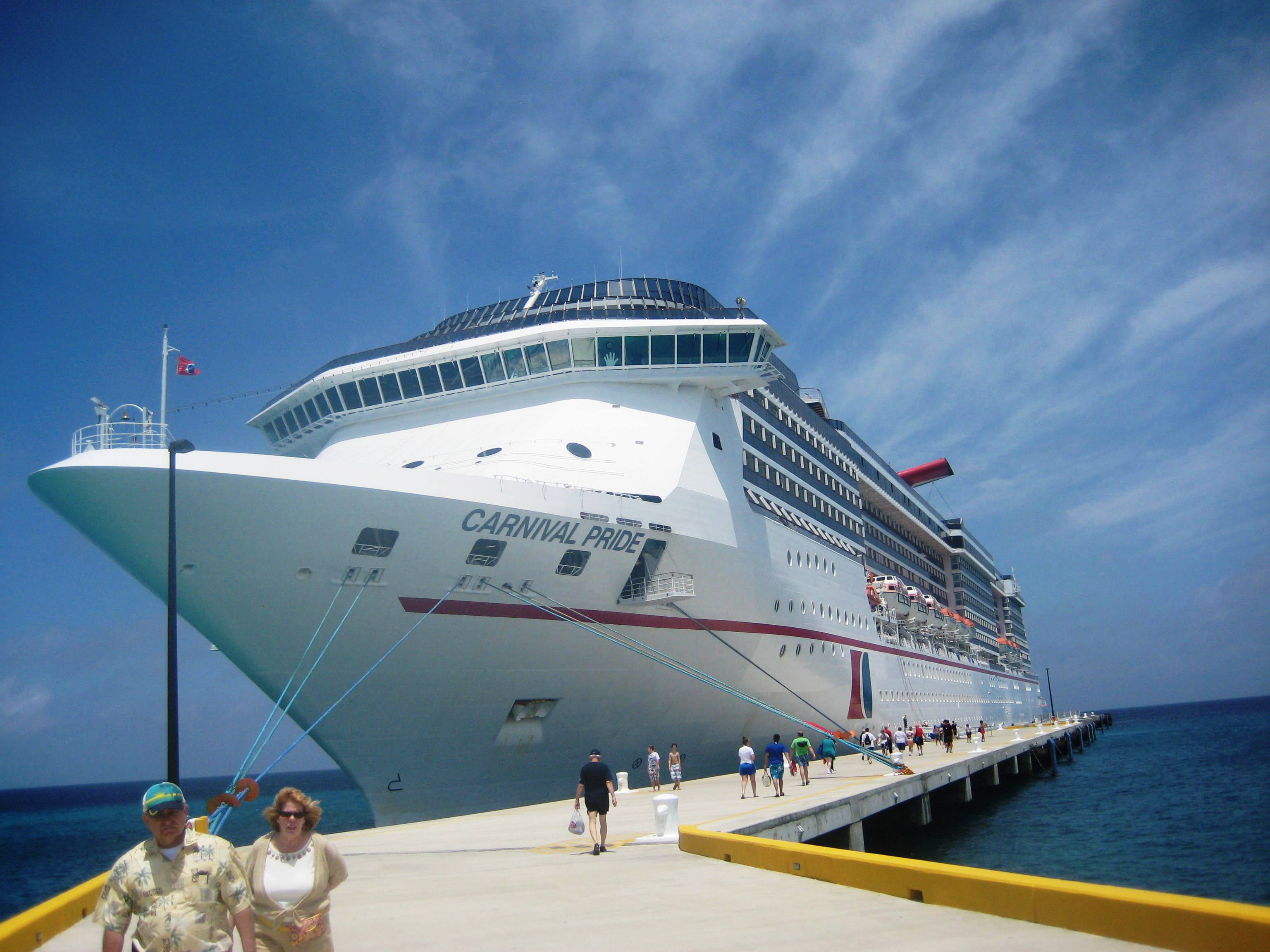 The Carnival Pride docked in Grand Turk