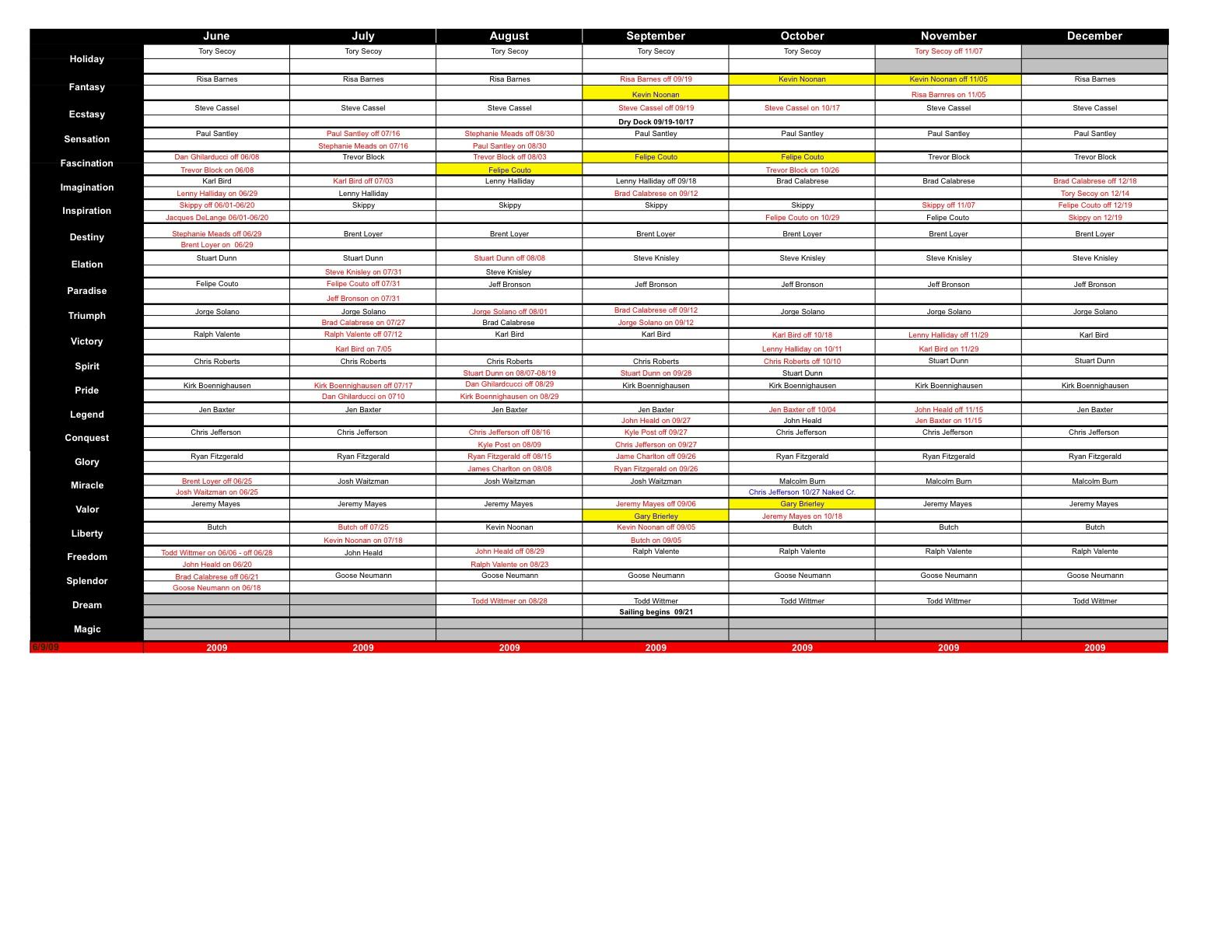 CD Schedule June - December 2009 CD Schedule