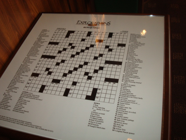 DSC03692-Great idea. Crosswords on the table top, changed every day