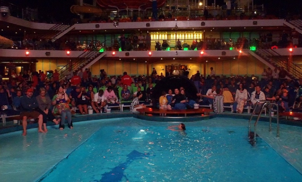 Carnival Breeze Lido Deck in all of it's football spirit.