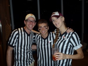 Butch, E-Staff member, Andy, and Assistant Cruise Director 6'3'' refereeing the party!